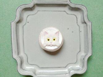 猫ねこブローチ15(白猫) せきそ粘土の画像