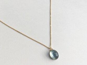【K14GF】爽やかな水色のアクアマリンカボションのネックレスの画像