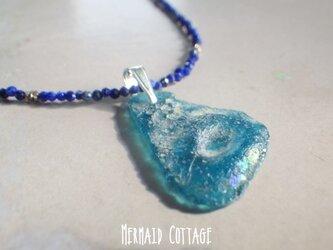 *sv925*Ancient Romanglass Necklace ブルー☆ローマングラスのラピスラズリネックレスの画像
