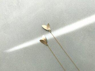 K14GF leaf〜ゴールドチェーンピアスの画像