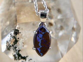 天然ボルダーオパールシルバーネックレス0.83ct☆オーストラリアYowah産の原石から磨きました!の画像