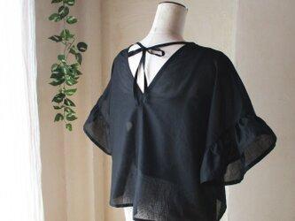 透け感綺麗な♥コットンボイルのバックリボンブラウス フリル袖 ゆったり身幅の画像