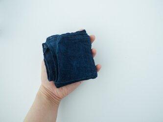 手織り linen handkerchief #藍の画像