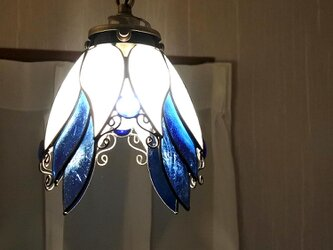 新色「天使のらんぷ青と白」 ステンドグラス 照明 ランプ ペンダントの画像