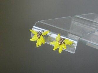 ガラスの花のイヤリング(ピアス)―向日葵の画像