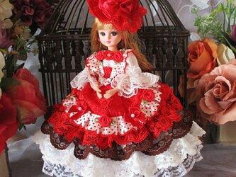 ☆Sale ロリータロマンス レッドとホワイトの誘惑 キュートなワンピースドレスの画像