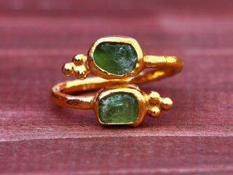 古代スタイル*グリーンアパタイト 指輪*フリーサイズ GPの画像