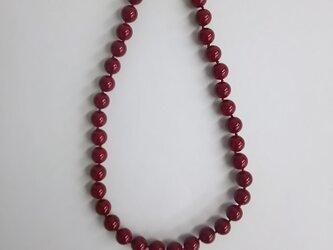 ガラスビーズオールノットネックレス/10mm約42cm/RED/made in japanの画像