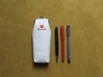 【白】がま口ペンケースの画像