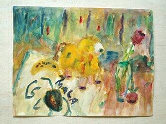 羊とバラ(額無し)の画像