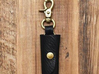 栃木レザー 真鍮 キーケース 鍵3本収納 レバーナスカン キーホルダー【ブラック】JAK047の画像