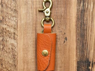 栃木レザー 真鍮 キーケース 鍵3本収納 レバーナスカン キーホルダー【オレンジ】JAK047の画像