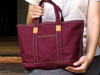 革と帆布のトートバッグS バーガンディ ※受注生産の画像