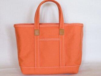革と帆布のトートバッグS オレンジ ※受注生産の画像