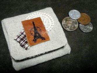 BOX型コインケース エッフェル革モチーフ 茶チェックの画像