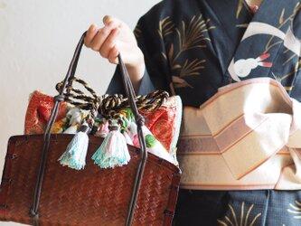 限定夏の花柄大きい猫型3way巾着カゴバッグ(一点作品/送料無料)の画像