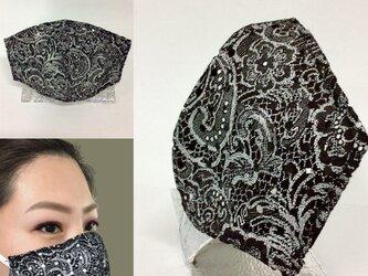 革のマスクカバー/レース柄/KISEKAE MASK COVER/革マスク/重ねマスク/お洒落/目立つ/の画像