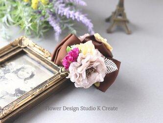 シルバーローズと紫の薔薇のバンスクリップ 髪飾り ヘアクリップ リボン 茶 結婚式 参列 フォーマル バラ お出掛けの画像