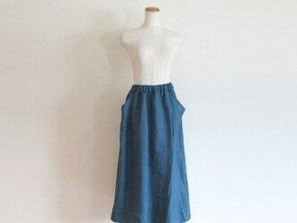 Blue* リネンのラップスカート風パンツの画像