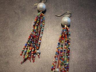 fringe earrings  *pearl mix-gaの画像
