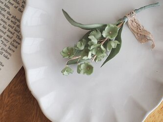 布染花*スズラン-ライトグリーン*コサージュの画像
