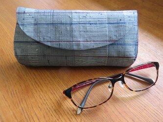 送料無料 シックな格子の眼鏡ケースの画像