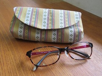 送料無料 優しい縞柄の眼鏡ケースの画像