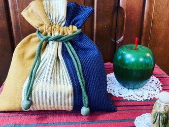 久留米絣のパッチワーク巾着袋の画像