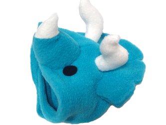 犬猫用コスプレ トリケラトプスのかぶりもの(青)(帽子)の画像