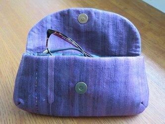 送料無料 紫紬の眼鏡ケースの画像
