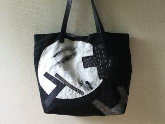 リネンのコラージュと刺し子のバッグ『月の影』の画像