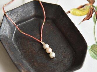 あこや真珠×ヴィンテージビーズ・ネックレス n1438の画像