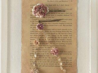 染め花のガーランド付きヘアピン(マロンピンク)の画像