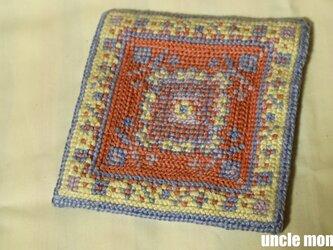 ドール用ツヴィスト刺繍のラグ スクエア(125×125サイズ)Hyacinth Blue 1/12ミニチュア・ファブリックの画像
