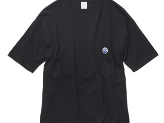 ビッグシルエット・ポケットTシャツ【ブラック】 WED HYM 刺繍ワッペン入りの画像