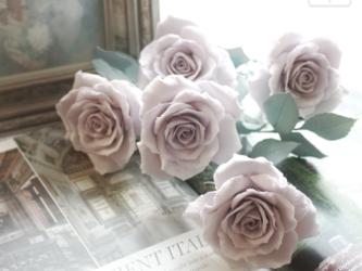 グレイッシュピンクのクレイローズ(8本セット)の画像