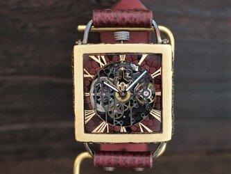 メカニックブラックスクエアAT 真鍮 ワインブラウン 手作り腕時計の画像