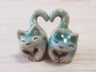 ハートちび猫=^人^=青緑猫の画像