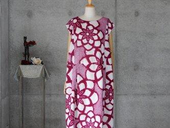 着物リメイク 有松絞りのワンピース/ ローウエスト/フリーサイズの画像
