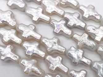 連材 40cm クロス 十字架 淡水パール バロック 16~17mm*10~11mm パーツ ルース 素材 干渉色の画像