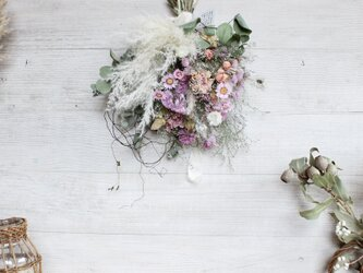 [esprit] bouquet  ピンクの小花とパンパスグラスのブーケ  スワッグ パンパスグラス  ドライフラワーの画像