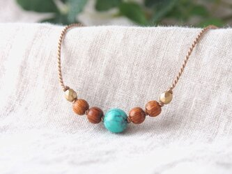 Turquoise&Wood Short Necklaceの画像