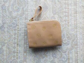 刺繍革財布『SHABON』黄色(牛ヌメナチュラル)☆二つ折りミニ財布☆の画像