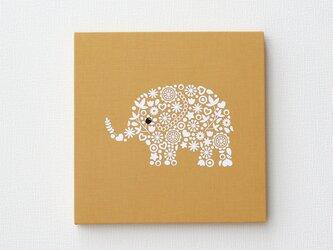 ゾウのファブリックパネル M-736◆からし/白の画像
