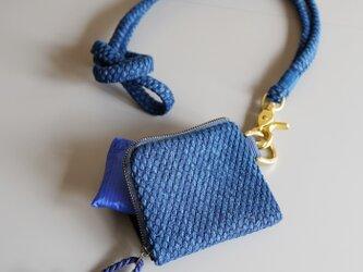 武州正藍染 エコバッグ付きミニ財布(コード付) 二重刺子 ブルーの画像