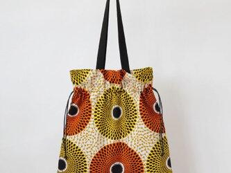 アフリカ布の巾着バッグ 大きなサイズ / エコバッグの画像