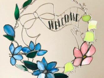 ステンドグラス 花と猫のwelcome壁掛けの画像