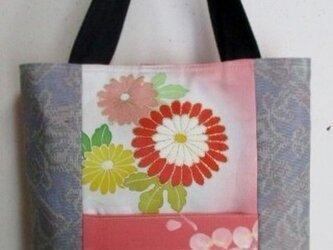5715 振袖と色大島紬で作った手提げ袋 #送料無料の画像