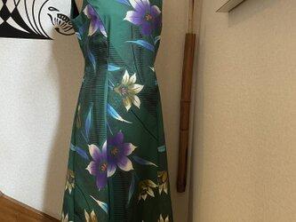 気分を明るく!浴衣地ワンピースドレス グリーン花柄の画像