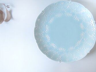 ✤新作家✤:青磁華やぎ 7寸皿:の画像